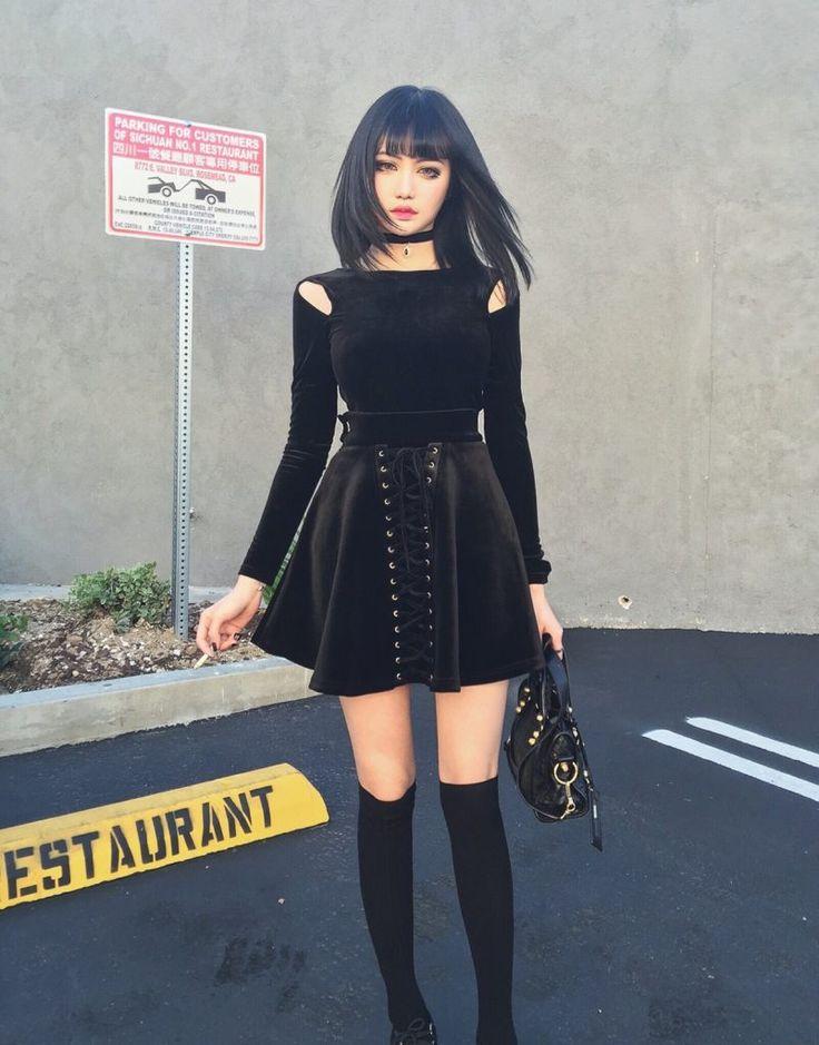 Vestido Negro Todo de Kinashen