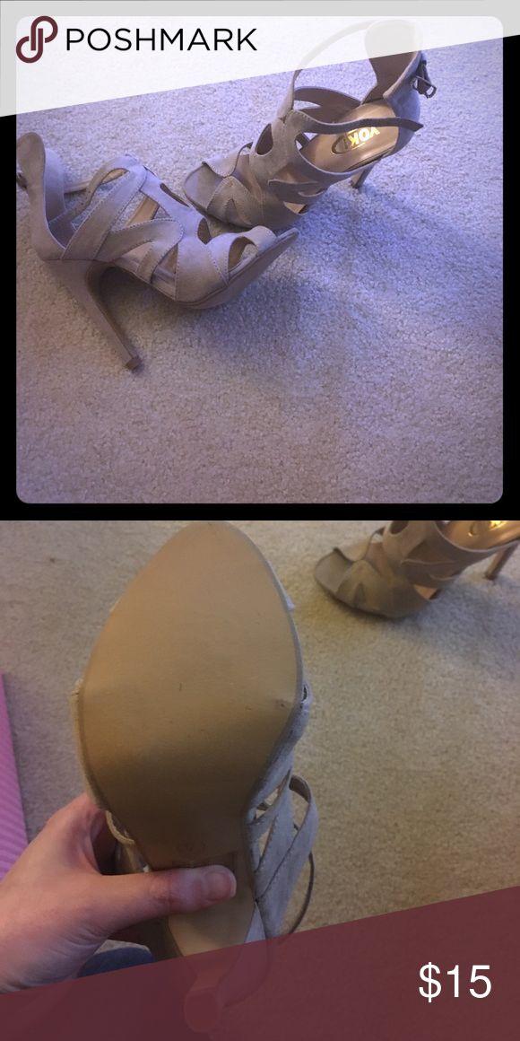 Yoki tan cage shoe- never worn 3in heel tan cage Yoki Shoes Heels