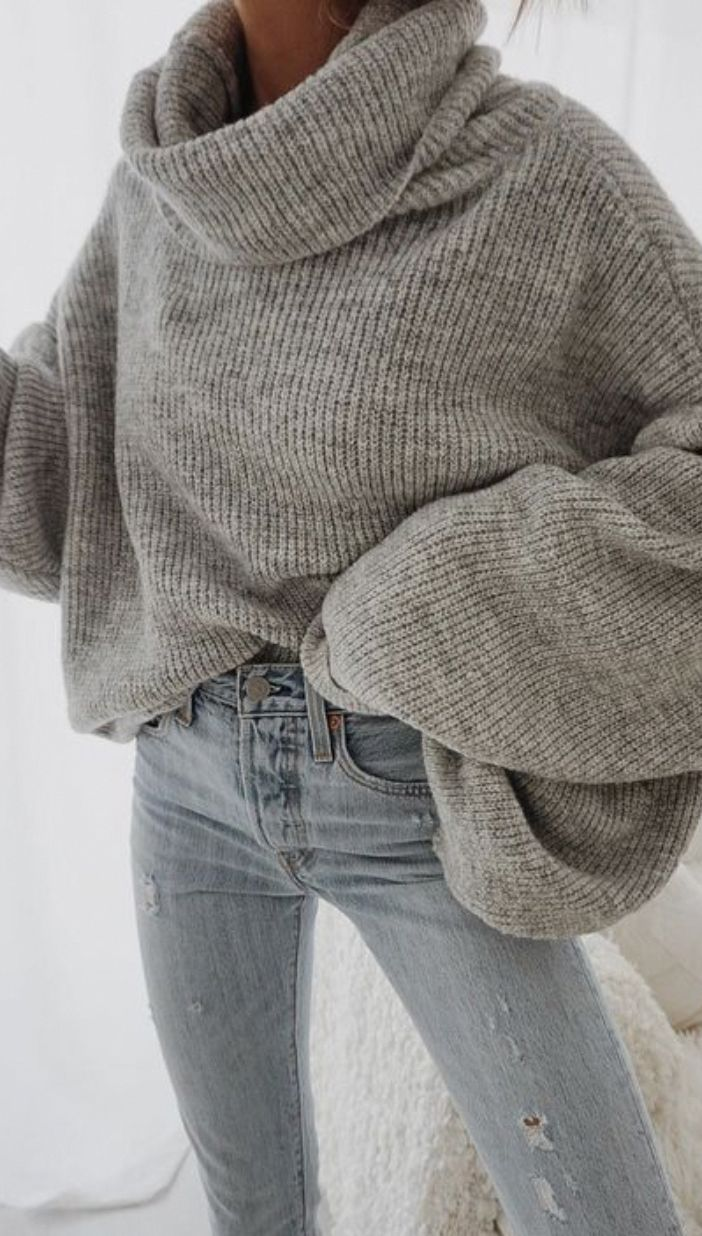 oversized turtleneck sweater + levis skinny jeans outfit for women | best winter… – ✼ style ✼