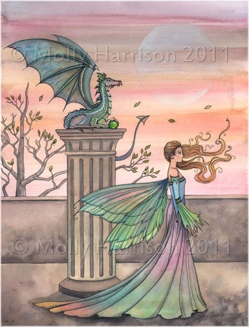 The High Courtyard Fairy and Dragon Original by MollyHarrisonArt, $14.50