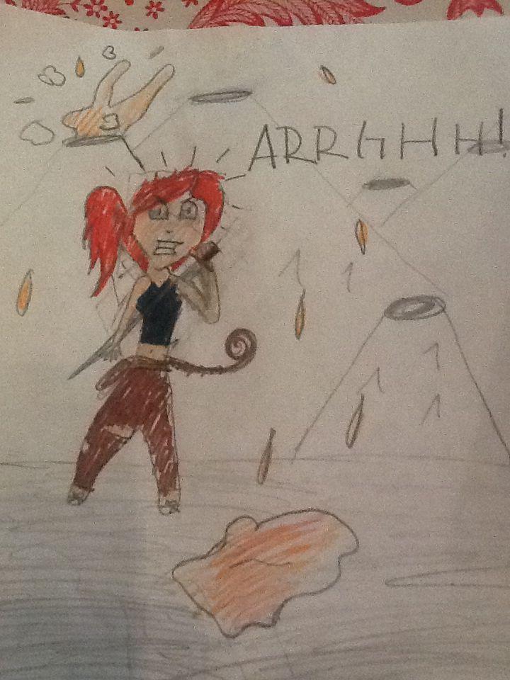 Den rødhårede manga pige er klar til kamp