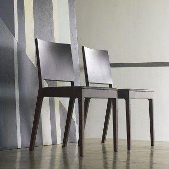 Sedia Always in legno massello di rovere, noce canaletto o faggio