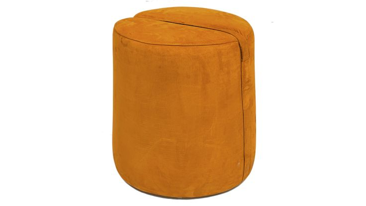 Brun Baggen pall. Rund, cognac, skinn, fotpall, puff, soffbord, möbler, möbel, inredning, vardagsrum, sovrum, hall.