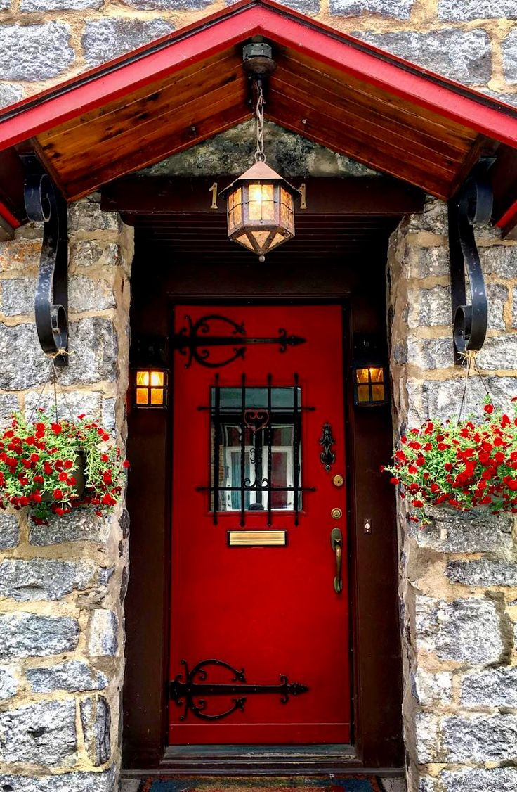 Red door in Montreal Quebec Canada 2396