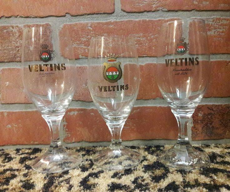 Veltins Brewery German Beer Glass Meschede Grevenstein Germany LOT 3 Rare Gold #Veltins