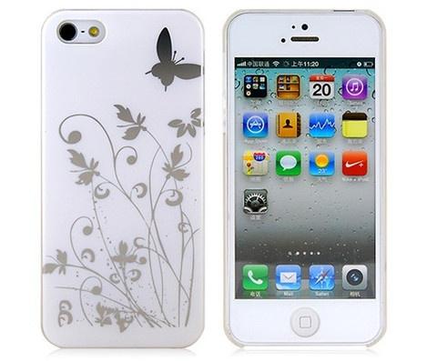iPhone 5 için kelebekli beyaz çok hoş bir koruyucu kapak.