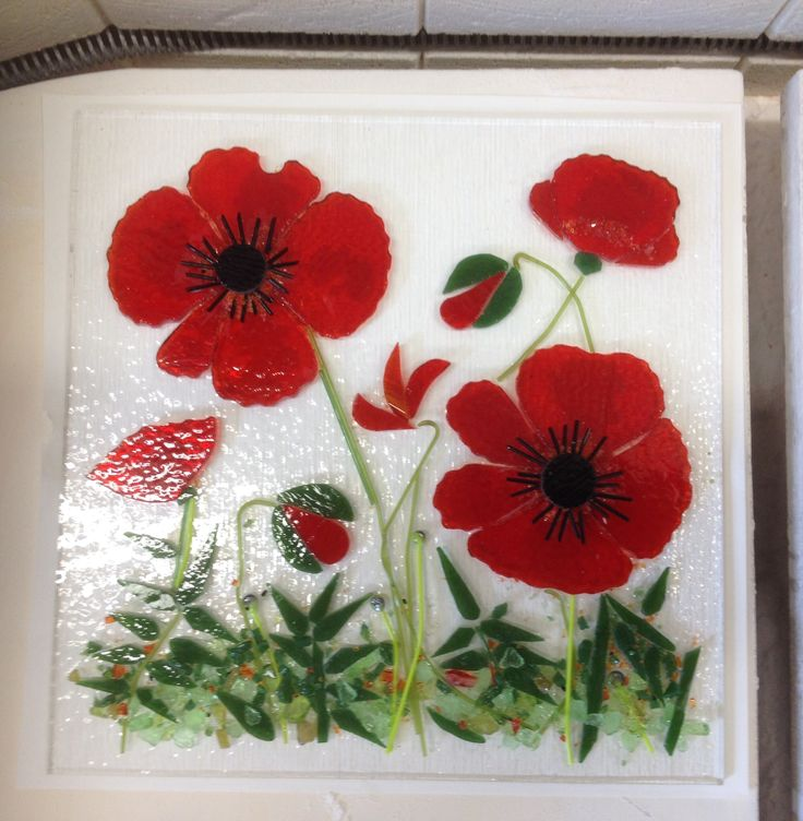 Fused glass - Poppies