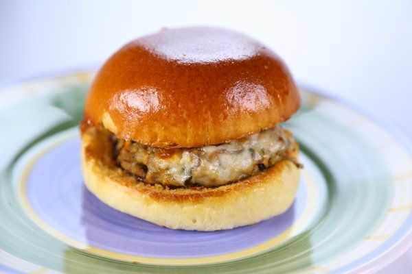 the chew | Recipe  | Clinton Kelly's Mushroom Burgers -- Going to try with less oil and 2% cheese with a whole wheat bun.