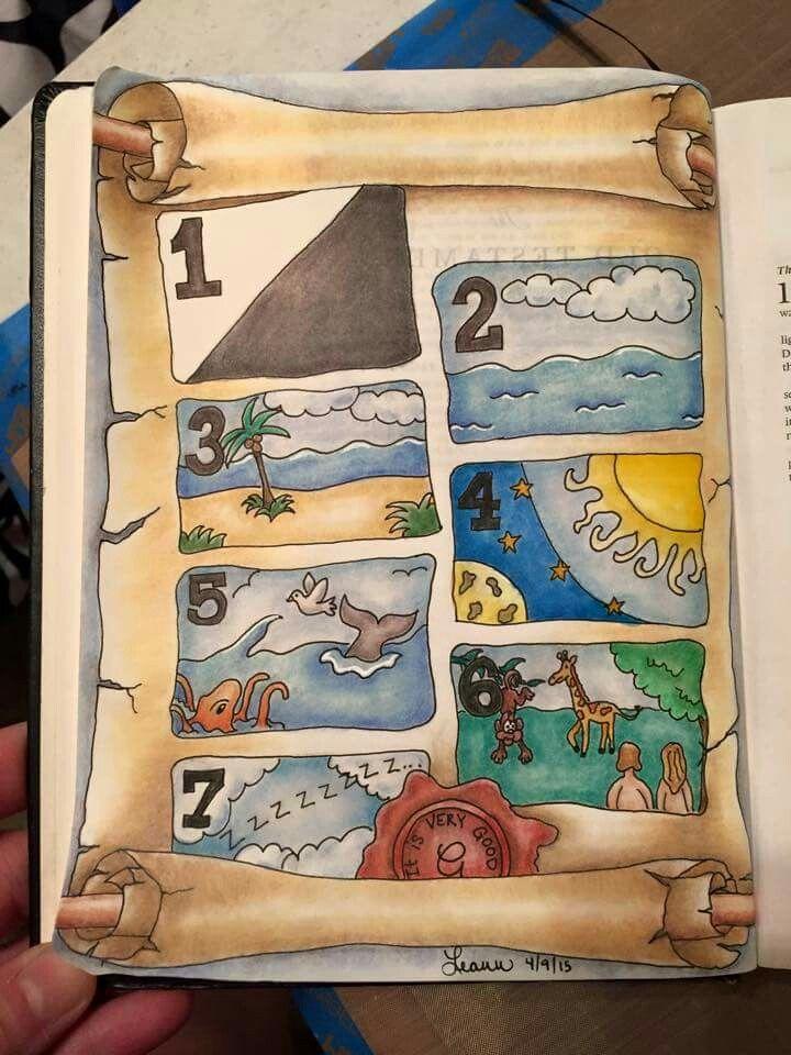 Sweet creation Bible art journaling.- questa foto mi sembra molto bella, disegna la creazione, ma sembra un libro per bambini...per tutti i bambini di tutte le età dans immagini per meditare 2d6ff1d67dd01076c81add671bca4e77