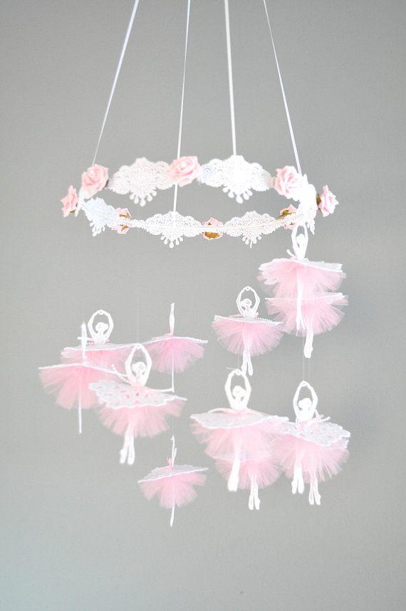 Pink Ballerina Mobile Baby Girl Nursery Tulle Handmade Mobile Baby Shower Gift