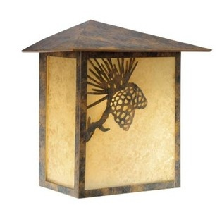 Yellowstone Pinecone - 1 Light Rustic Outdoor Flush Mount Wall Lamp Fixture - Bronze - Scavo B2568- Vaxcel USA Lighting