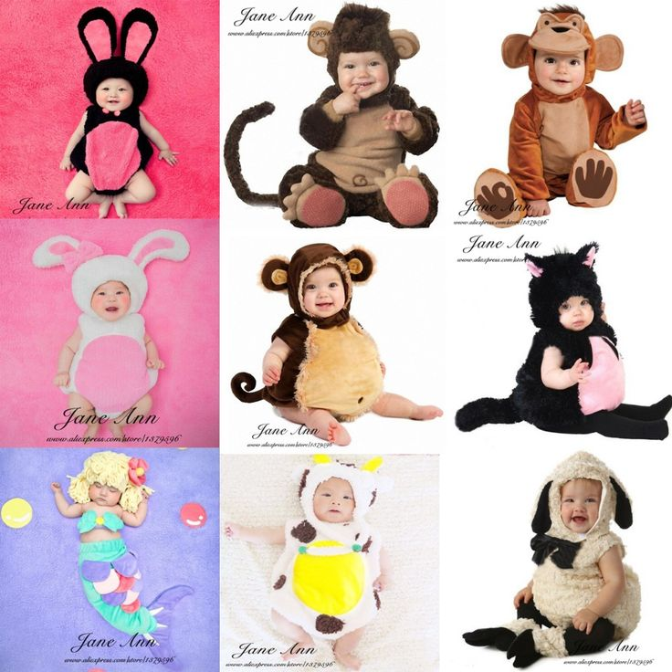 Baby photography accessories infant toddler monkey sheep cat rabbit cow mermaid costume 4-12month baby photo studio shoot props