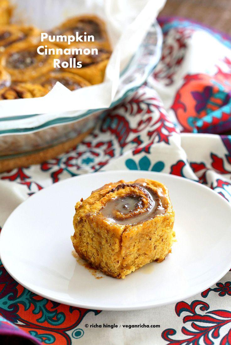 Vegan Pumpkin Cinnamon Rolls Recipe   Vegan Richa