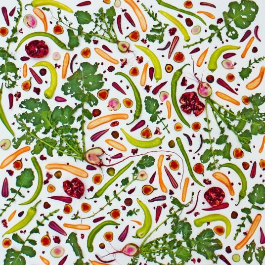 A colourful design featuring a huge array of vegetables