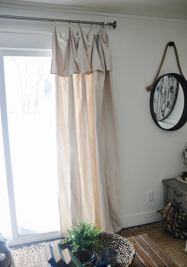 DIY No-Sew Curtains - just fold over the too-long part. Tis is from drop cloths, you could use tablecloths or even extra-long curtains.