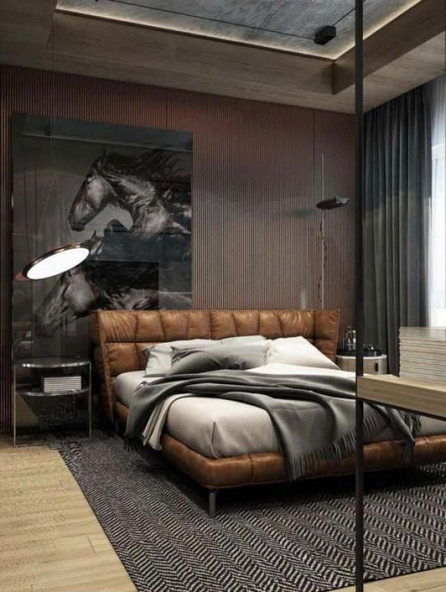 Cool Masculine Bedroom For Mens With Brown Leather Bedroom And Horse Wall Pict Decor Modern Bedroom I Men S Bedroom Design Leather Bedroom Luxurious Bedrooms