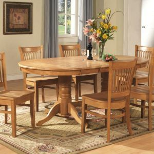 Solid Oak Dining Room Table And 6 Chairs Furniture Set