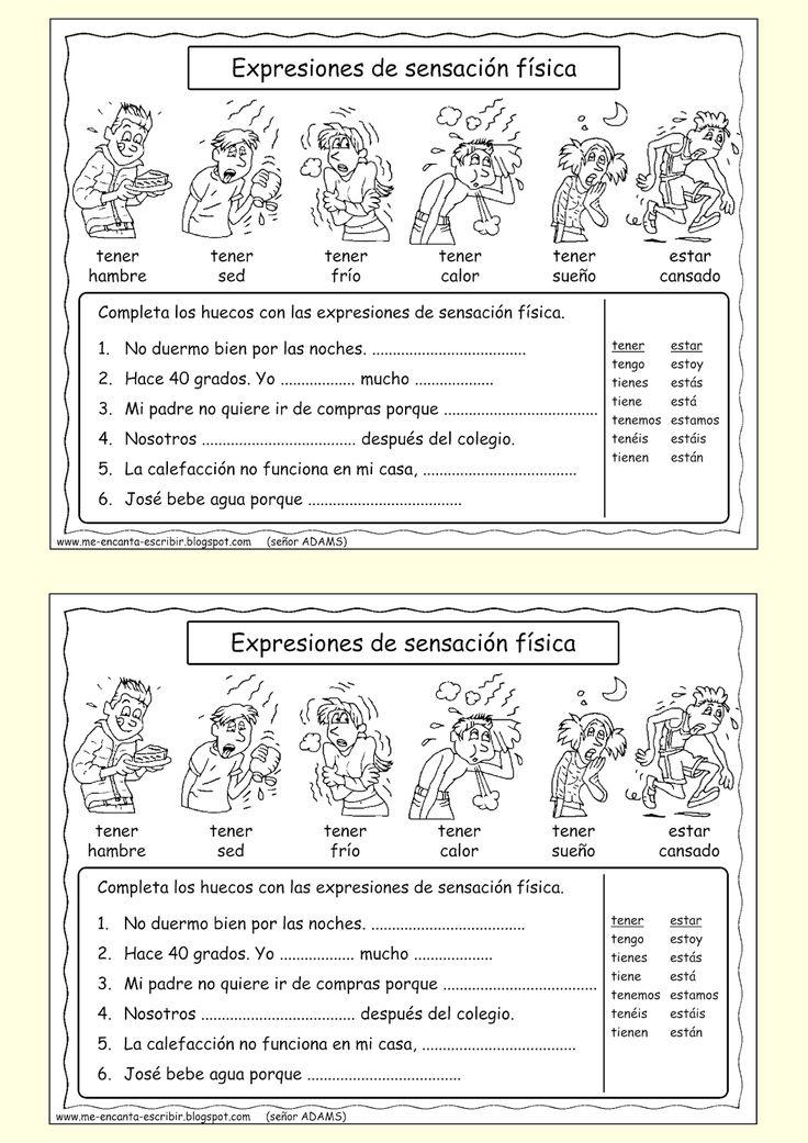 Me encanta escribir en español: Expresiones de sensación física.