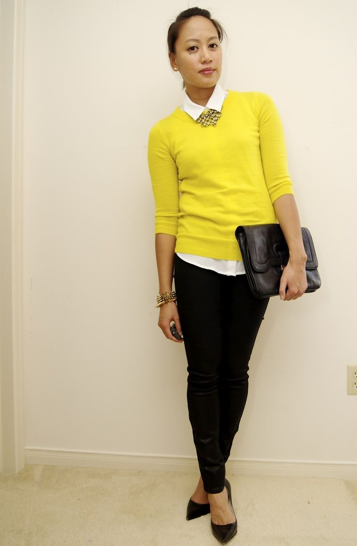I like the bright yellow sweater over the button-up. I like basics with a pop of color added.