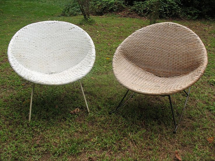 Pair of Mid-Century Modern Wicker Chair and Rocker from dovetail on Ruby Lane