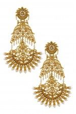 Tribebyamrapali-Silver Gold Plated Mayura Lotus Pearl Citrine Chaand Earrings
