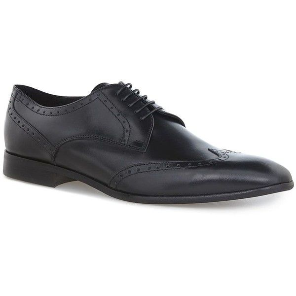 TOPMAN Black Leather 'Leo' Brogues (254.580 COP) ❤ liked on Polyvore featuring men's fashion, men's shoes, men's oxfords, black, mens leather shoes, mens black shoes, mens derby shoes, mens rubber sole shoes and topman mens shoes