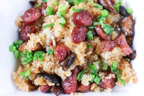 Sticky rice with Chinese sausage, Shitake mushrooms and dried shrimp(Xoi Man)