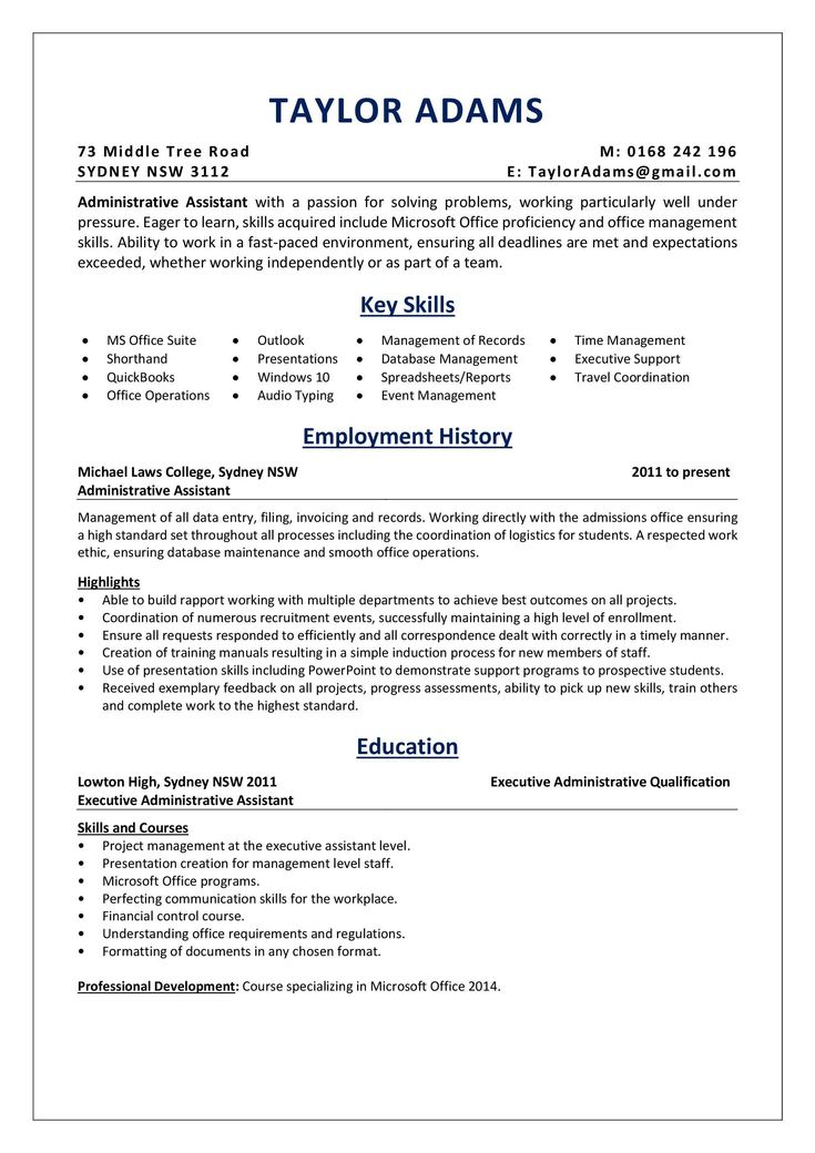 Executive assistant resume examples fresh an