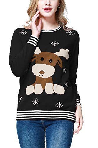 Molliya Weihnachtspullover für Damen Rudolph Rentiere Lange Ärmel ... 9949136af7