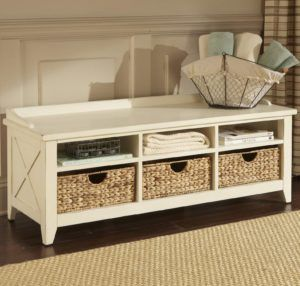 White Wood Storage Bench With Baskets