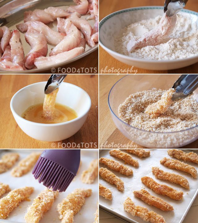 Oven baked fish fingers - step by step