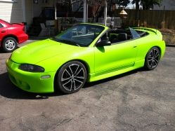 1997 Mitsubishi Eclipse Spyder 2nd gen- I love love love this color. And it happens to her Her favorite color lol. :) she would love this.