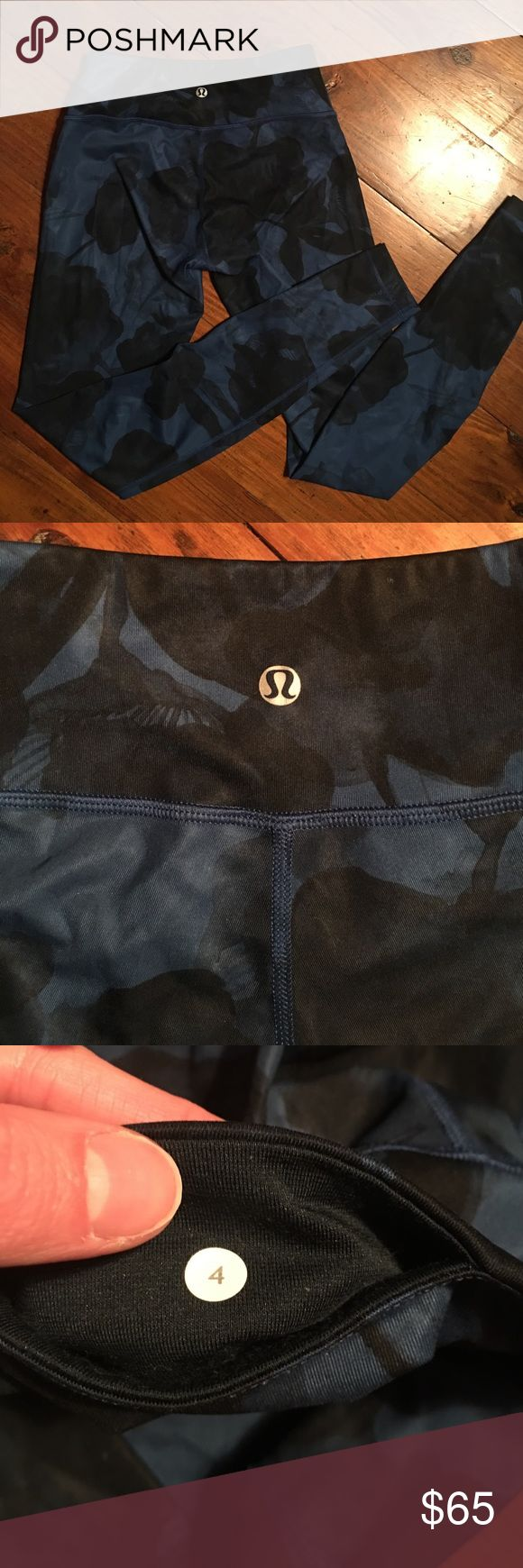 ✨24 hr sale✨Lululemon leggings Excellent condition! Couldn't find any flaws. Beautiful dark blue and black design. Full length. lululemon athletica Pants Leggings
