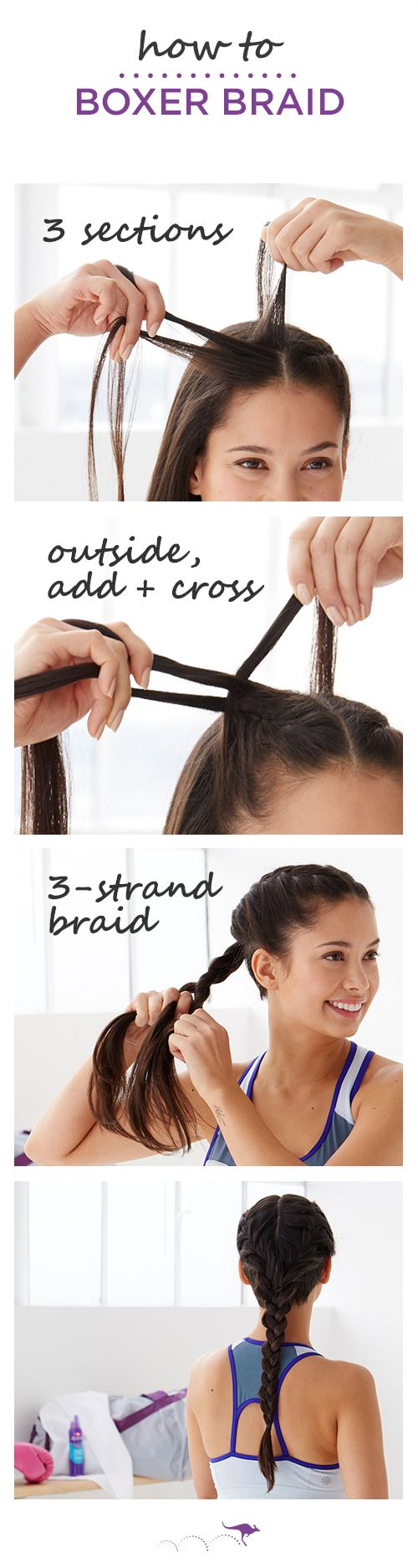 How To: Boxer Braid | The perfect hairstyle for running, boxing, or spin class. For smoother, stronger strands use Instant Freeze Mousse before you braid |  1. Part hair & section into three small strands  •  2. Take the left strand, add a small amount of hair & cross over to the other strand, repeat, alternating sides until just above your ear & tie  •  3. Repeat on the other side of you part, then tie into a low pony & create a three-strand braid.