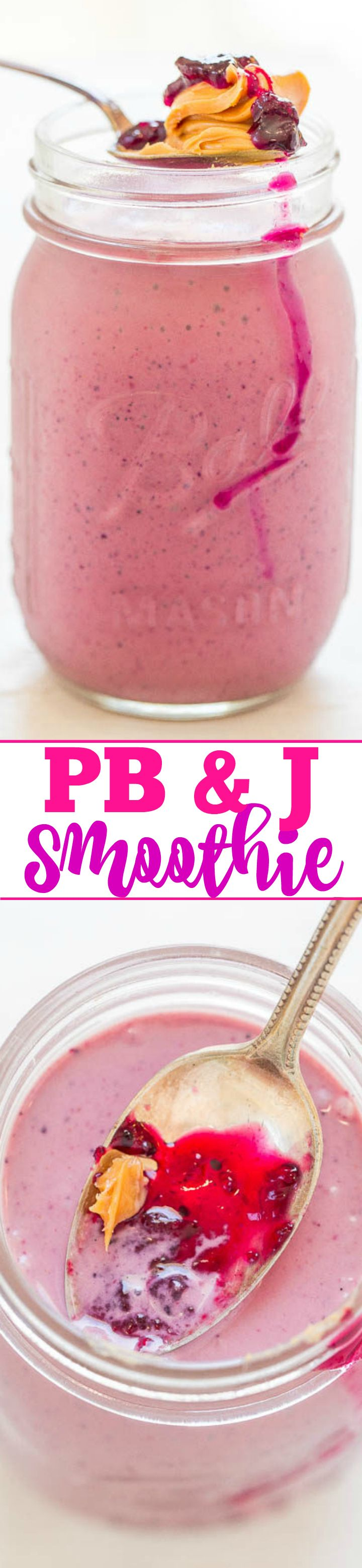 PB & J Smoothie - A perfect PB & J in drinkable form!! Smooth, creamy, satisfying, EASY, and healthy!! You're going to LOVE this version of a PB & J!!