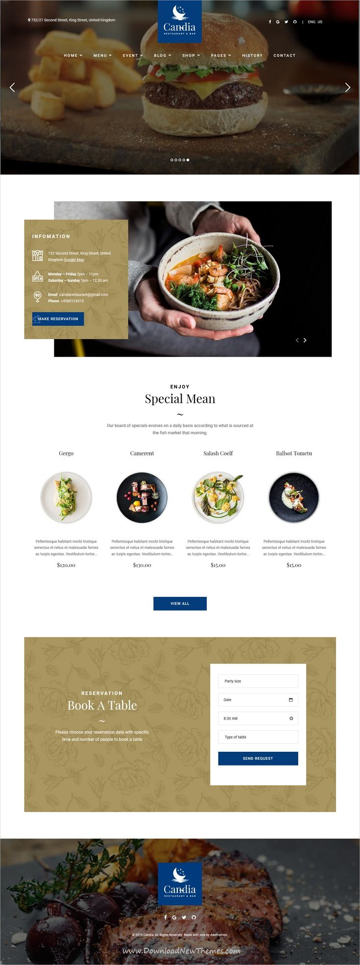 Candia is clean and modern design 3in1 responsive WordPress theme for #restaurant bar and #cafe website to live preview & download click on Visit