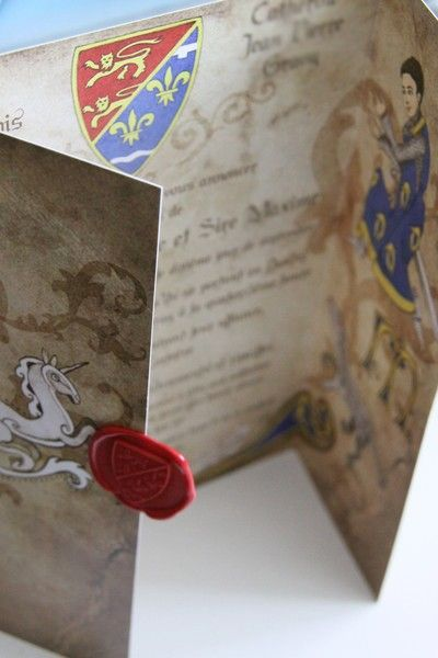 Medieval inspired wedding invitation