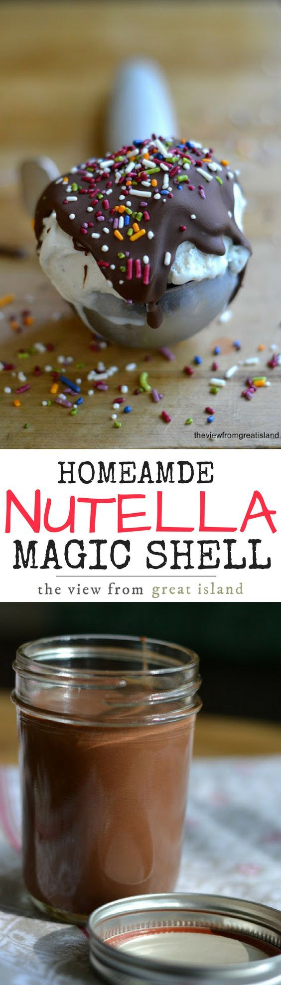 Homemade Magic Shell ~ an easy chocolate sauce that magically turns from liquid to crackly shell on contact with cold ice cream ~ delicious!