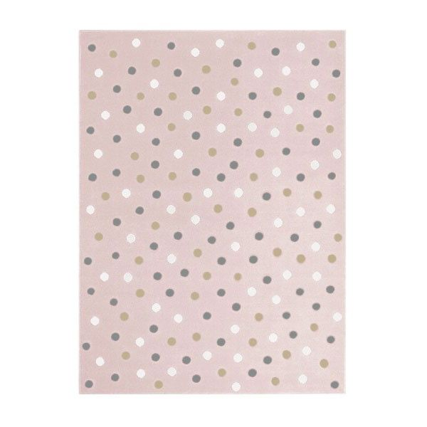 Teppich Acryl rosa mit weiß-grau-beigefarbenen Punkten in 3 verschiedenen Größen