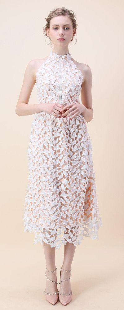 Leaf for Elegance Crochet Sleeveless Dress in White- New Arrivals - Retro, Indie and Unique Fashion