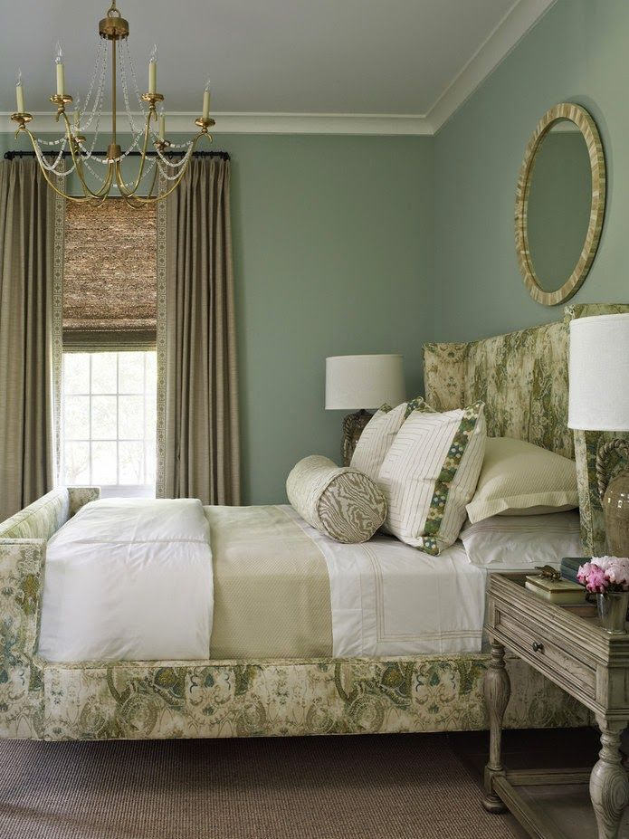 grey and green bedroom wall color is pratt and lambert moss lake celadon 15483