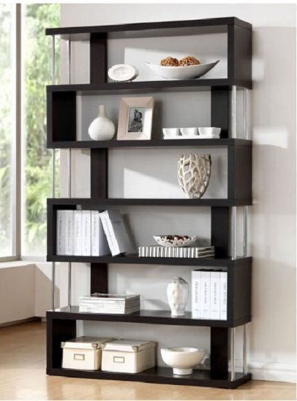 wooden bookcase 6 shelf library book storage modern picture trophy