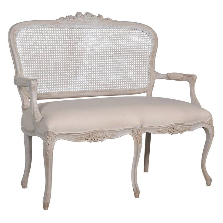 Vignette White-Wash French Rattan Sofa | French Sofa - French Bedroom seating.