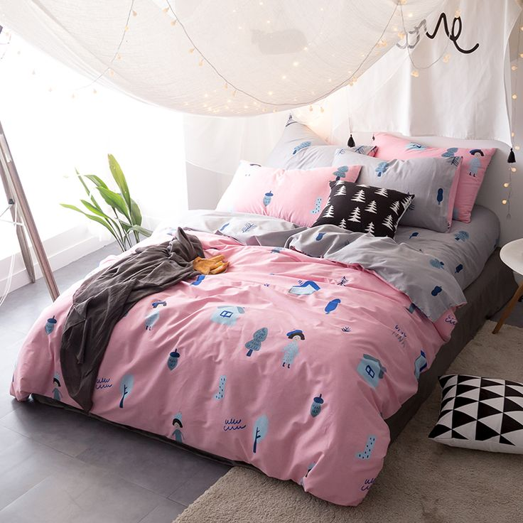 Papa&Mima Girl Trees Pink 3/4Pcs Twin Queen King Size