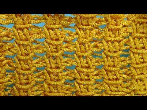 Сеточка Тунисское вязание Tunisian crochet pattern  Узор 14 - YouTube
