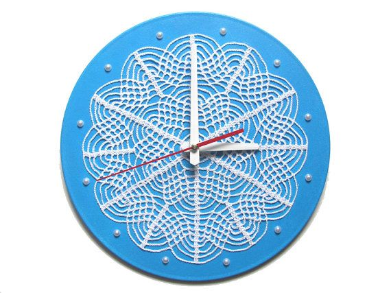 Wall Clock White Lace in the Blue Sky, unique wall clock,blue wall clock,living room clock,bedroom clock,crochetted home decor,cottage chic