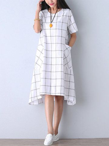 Casual Women Check Pocket Knee-length Cotton Linen Dress
