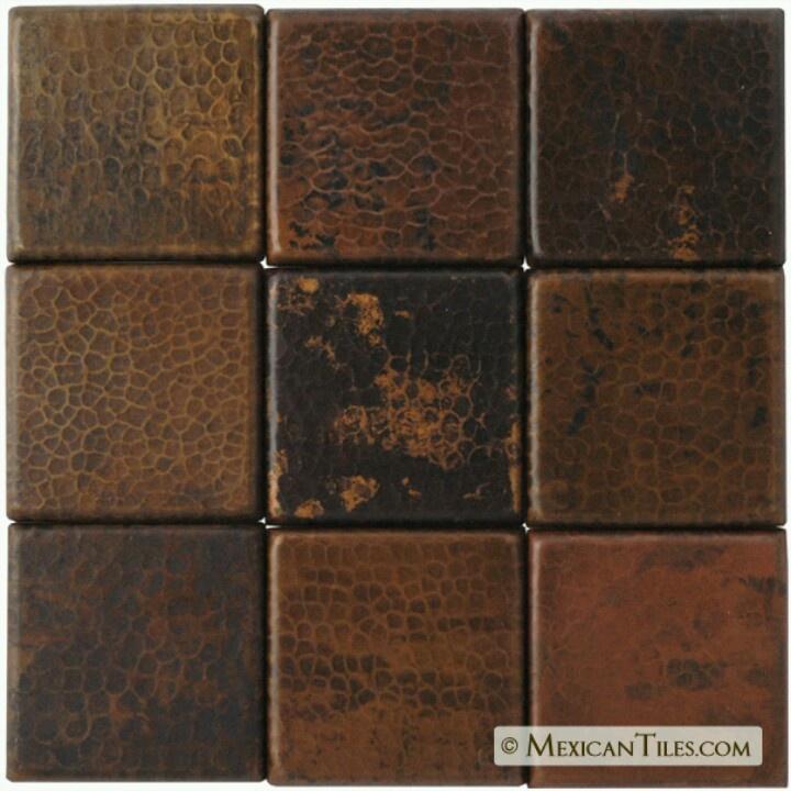 Antique finished copper tiles