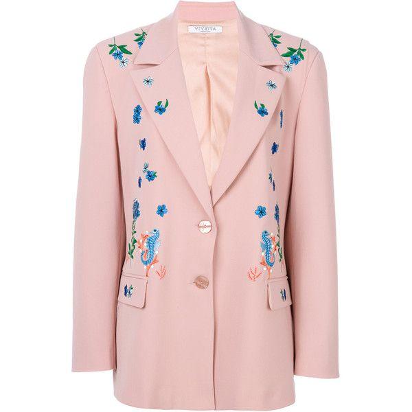 Vivetta Varsiva Blazer (17.273.940 VND) ❤ liked on Polyvore featuring outerwear, jackets, blazers, pink blazer, blazer jacket, pink jacket, vivetta and pink blazer jacket