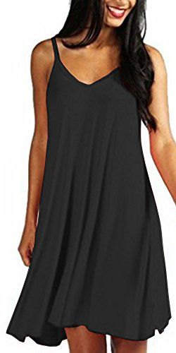 c2c61d413e8d ARAMONIAT Women s Casual Plain Simple T-Shirt Loose Strappy Dress (UK Size  L